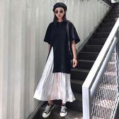 【免運】大碼女裝夏減齡洋氣套裝 胖mm遮肚子顯瘦T恤正韓半身裙兩件套200斤