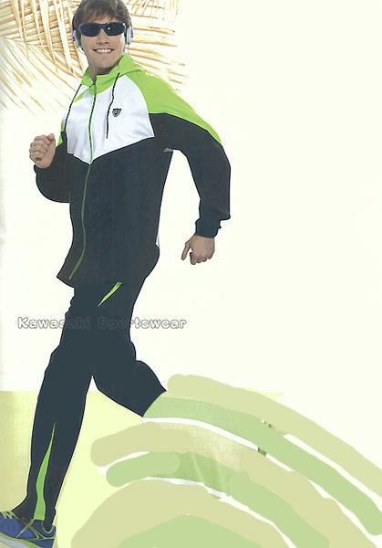 【日本Kawasaki】男女針織吸濕排汗單層連帽運動服套裝(全套-黑綠)