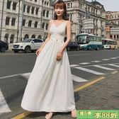 吊帶裙 鏤空露背連身裙巴厘島度假沙灘裙吊帶純色V領大擺長裙