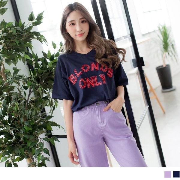 OrangeBear《AB6870》質感英文設計印花高含棉T恤上衣--適 XL~5L