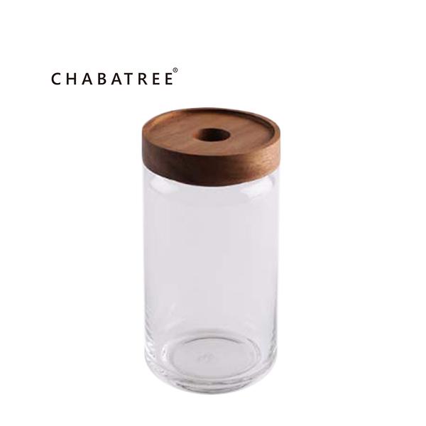 泰國CHABATREE木作系列-相思木蓋-圓筒密封玻璃罐 1000ml (原廠盒裝)