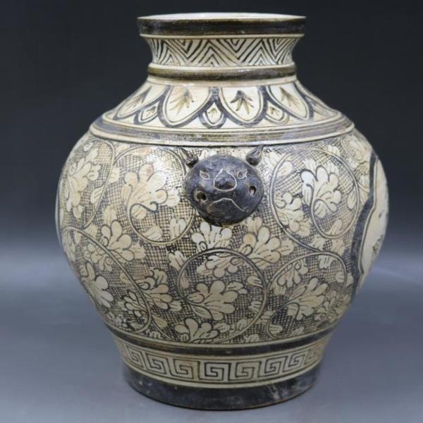 宋吉州窯彩繪人物狗頭罐壇手繪仿古老貨包老瓷器家居擺件古董古玩1入