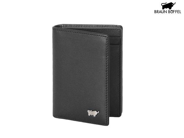 【寧寧*台中30年專賣店】BRAUN BUFFEL 小金牛 漢斯系列 黑色真皮30張名片夾證件夾 BF304-313-3