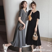 夏季大版寬松上衣服閨蜜裝中長款短袖T恤ins潮半袖設計感過膝體裙 檸檬衣舍