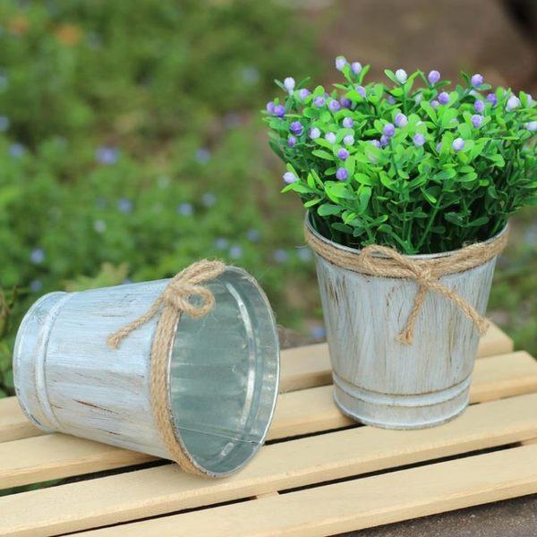 [超豐國際]桌面擺設麻繩小鐵桶女生房間壁柜干花裝飾花桶鐵皮花1入