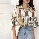 短袖古著花襯衫女夏港風復古設計感上衣抽象油畫印花雪紡襯衣