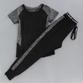 夏季健身房運動服女短袖寬鬆瑜伽服套裝速乾顯瘦哈倫褲跑步服 交換禮物