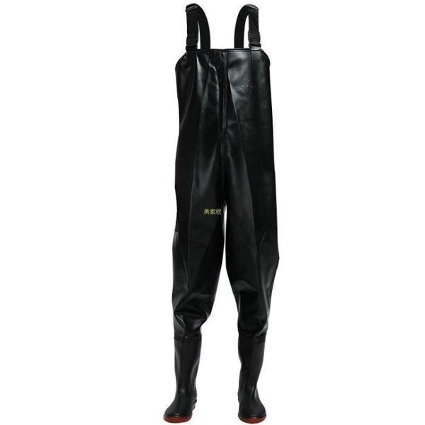紅詩雨半身下水褲加厚防水褲水庫褲釣魚服抓魚褲連體雨鞋雨褲 快速出貨