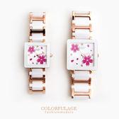 Valentino范倫鐵諾 奢華玫瑰金櫻花精密陶瓷方形手錶腕錶 原廠公司貨 柒彩年代【NE1243】單支