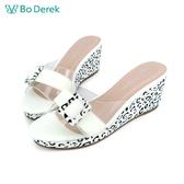 Bo Derek 透明透膚楔型拖鞋-白色
