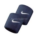 Nike 護腕 Swoosh Wristbands 深藍 白 男女款 勾勾 一組兩入 球類運動 運動休閒 【ACS】 NNN0441-6OS