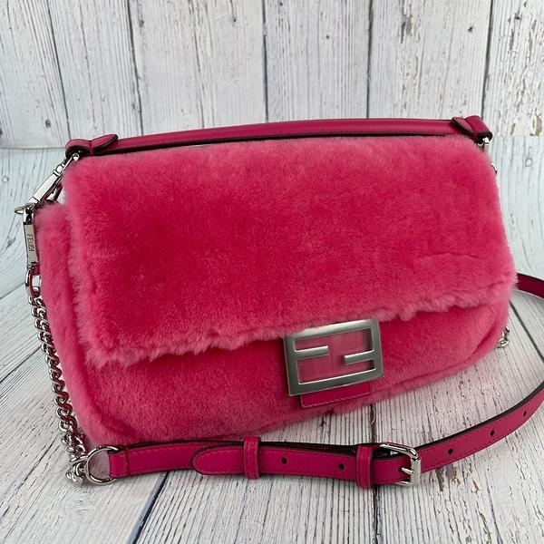 BRAND楓月 FENDI 芬迪 8BR600 桃粉色X銀釦 天鵝絨 Baguette 法棍 兩用包 肩背包