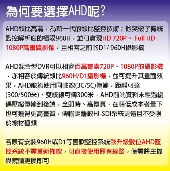 【CHICHIAU】4路AHD 720P數位高清遠端監控套組(含36燈百萬畫素紅外線夜視攝影機x4)