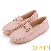 ORIN 復古樂活主義 金屬飾釦牛皮洞洞帆船鞋-粉紅
