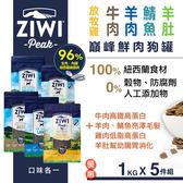 【SofyDOG】ZiwiPeak巔峰 96%鮮肉狗糧-五種口味各一(1kg) 生食 狗飼料 成犬  幼犬