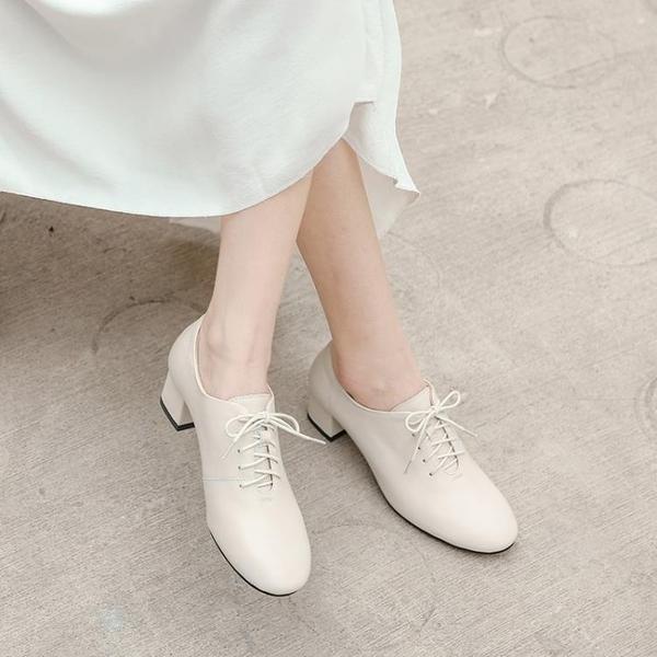 皮鞋 女鞋2019秋冬粗跟單鞋女英倫風小皮鞋百搭秋鞋秋款高跟鞋【全館免運】