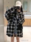 格子襯衫女設計感小眾春秋襯衣復古港味寬鬆韓版2019長袖上衣外套 韓語空間
