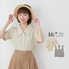 格紋拼接公主袖短版襯衫-BAi白媽媽【310359】
