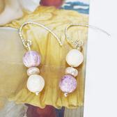 【粉紅堂 飾品】超秀氣巴洛克珠珠耳環 *淡紫色 / 淡藍色*