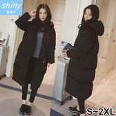 【V9630】shiny藍格子-好評風尚.冬季加厚保暖羽絨棉中長款外套