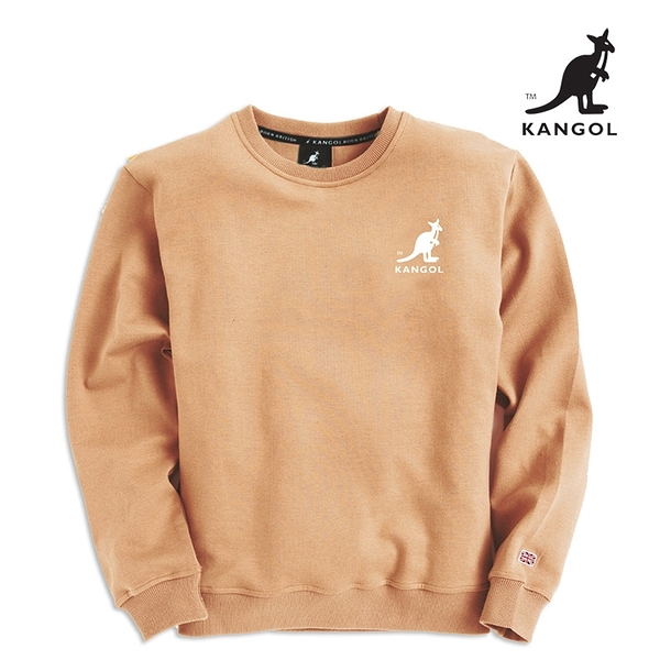 KANGOL 袋鼠 - 左胸刺繡中袋鼠大學T 珍珠奶茶【60551036】