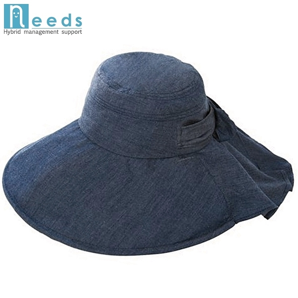 又敗家@日本NEEDS超寬帽簷15cm涼感帽可調折疊後簾帽蝴蝶結79817/82497夏季戶外防曬帽遮陽帽
