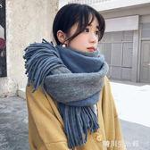 圍巾秋冬女冬季韓版百搭純色雙面軟妹針織毛線可愛少女學生圍脖男 晴川生活館