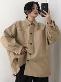 百搭BF風工裝翻領長袖襯衫秋冬女新款韓版寬鬆顯瘦學生外套潮