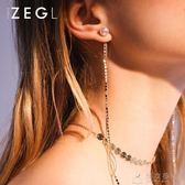 韓國氣質流蘇耳鍊女 長款耳墜個性仿珍珠耳釘耳環飾品耳線    俏女孩