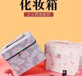 便攜化妝包小號韓版簡約多功能特大手提收納盒品大容量箱多層 nm3943 【Pink中大尺碼】