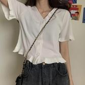 設計感V領設計感小眾黑色短款針織上衣2020年夏季新款短袖t恤女潮