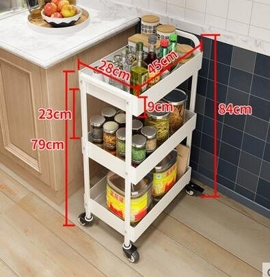 金屬廚房置物架落地多層推車宜家家用3層收納整理架儲物架手推車1(主圖款)