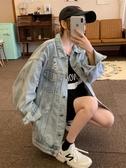 秋季破洞牛仔外套女2019新款韓版學生復古bf寬鬆中長款夾克上衣潮  潮流衣館