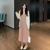 兩件式裙裝 秋季溫柔風收腰氣質蕾絲邊中長款長袖洋裝女裙子兩件套-Milano米蘭
