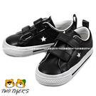 CONVERSE ALL STAR 黑色 皮革 魔鬼氈 低筒帆布鞋 小童鞋 NO.R1604