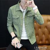青年韓版帥氣牛仔夾克男軍綠色破洞外套男春秋季薄款百搭修身褂子-Ifashion