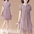 整件蕾絲襯衫領開襟洋裝-中大尺碼 獨具衣格 J3713