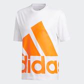 Adidas男款白色大橘黃LOGO短袖上衣-NO.GK3326