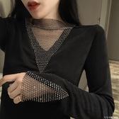 2020秋冬季新款性感修身亮閃閃拼接設計感T恤打底衫長袖上衣女裝