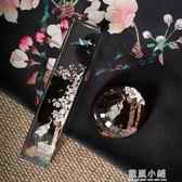 中式花鳥水墨鎮紙鎮尺公司文化禮品定制半球人造水晶紙鎮擺件 藍嵐
