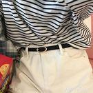 韓國新款腰帶pu皮帶女士淺金色橢圓扣頭復古白色褲帶百搭簡-享家生活館