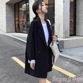 西裝外套格子小西裝外套女春秋新款韓版寬鬆休閒復古學生chic西服上衣 交換禮物