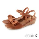 SCONA 蘇格南 真皮 甜美度假風楔型涼鞋 棕色 31058-1