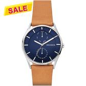 SKAGEN Holst 日曆時尚手錶-藍x棕/40mm SKW6369