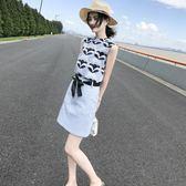 夏裝新款韓版女裝印花雪紡洋裝無袖短裙氣質套裝裙兩件套潮 草莓妞妞