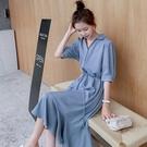 輕熟風洋裝 襯衫雪紡連身裙女夏中長款收腰...