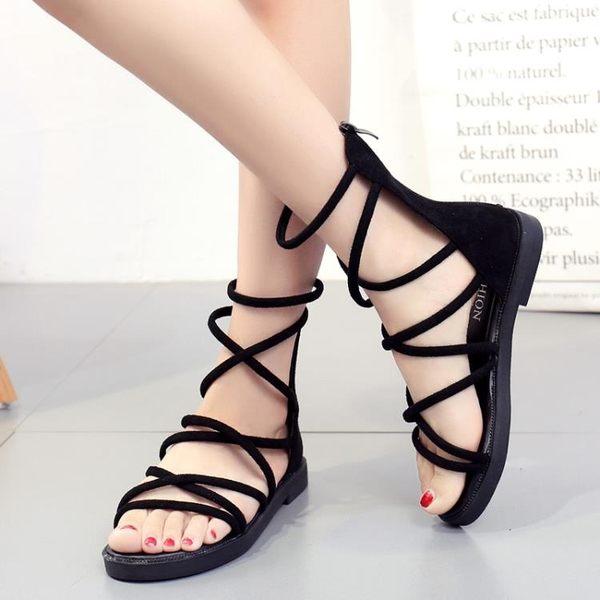涼鞋女夏季正韓版百搭露趾交叉綁帶平底涼靴學生軟妹羅馬鞋 街頭布衣
