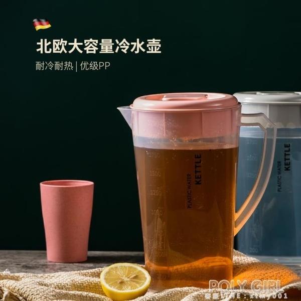 耐高溫冷水壺北歐涼水壺塑料家用涼茶壺涼白開水壺大容量冰水壺 polygirl
