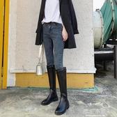 靴子女2019秋款新款長筒靴小個子長靴女不過膝騎士靴女中筒高筒靴『櫻花小屋』