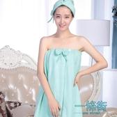 美容院浴裙可穿浴巾裹胸抹胸女春季加厚汗蒸比純棉吸水成人家居服